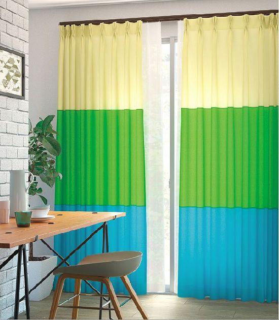 3色ボーダーカーテン