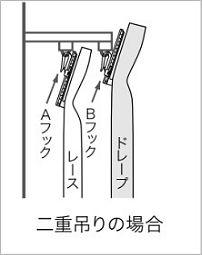 カーテン二重吊り フックタイプ