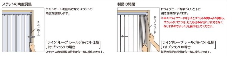 縦型(バーチカル)ブラインドの操作方法 コード式