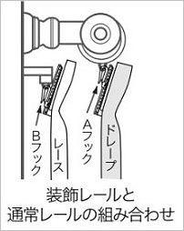 装飾レールと機能レールのフックタイプ