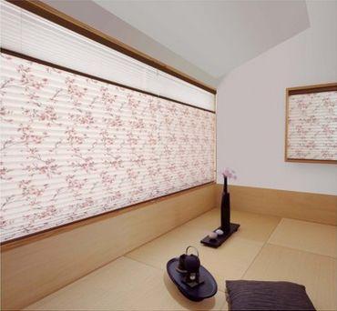 和室のプリーツスクリーン m8098(桜ほのか)