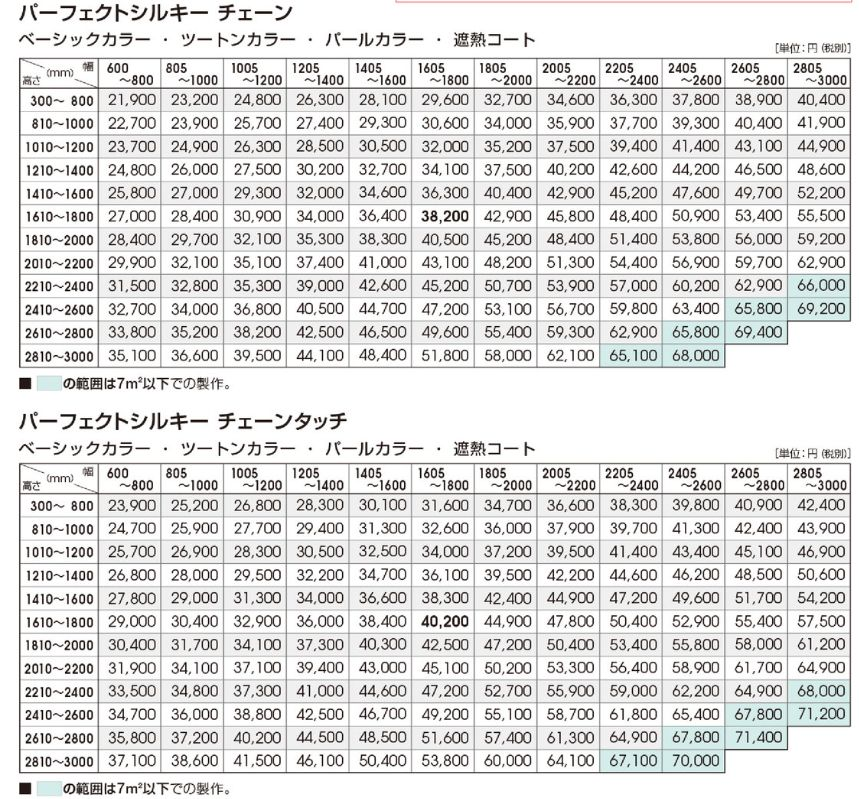 タチカワパーフェクトシルキー価格表