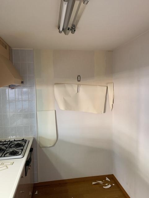 台所の奥の壁
