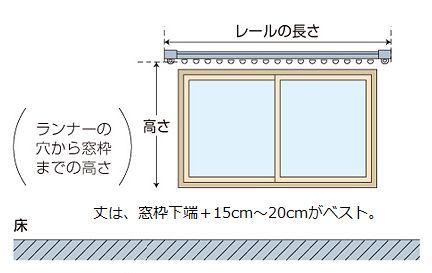 腰高窓のカーテン採寸