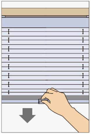 タチカワプリーツスクリーンシングル コードレス式の操作方法