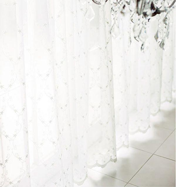 アンティークな刺繍レースカーテン ls62345①
